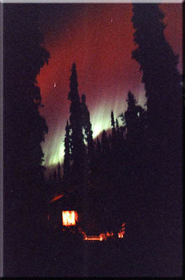 Like poetry in motion, the northern lights above a log cabin