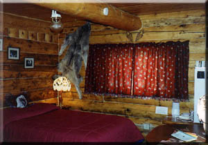 Wolf cabin provides lodging with atmosphere.