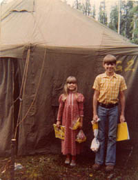 An Alaskan family living in a Tent in Tok, Alaska.
