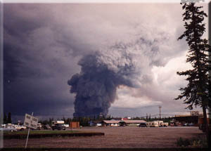 Alaska history in the making-forest fire- seen from the Tok information center.
